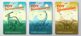 Toy Dinosaur Labels Template Set. Abstract Vector Packaging Design Layouts Collection. Modern Typography with Prehistoric Volcano Landscape and Hand Drawn Dinosaurus Sketch Background. Isolated
