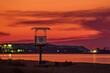 canvas print picture - Wasserwacht Turm am Falckensteiner Strand im Sonnenuntergang