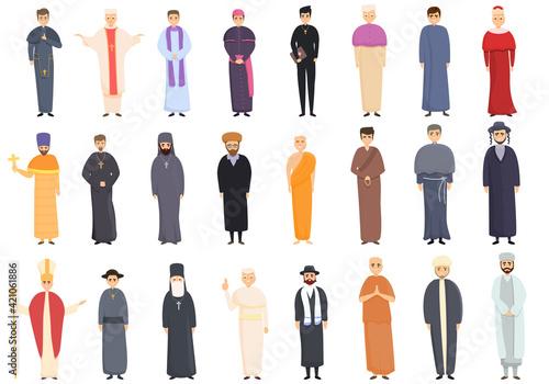 Fotografia Priest icons set