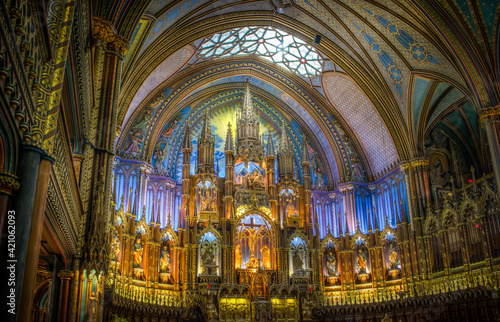Fotografie, Tablou interiors and details of Notre Dame basilica in Montreal, quebec, Canada