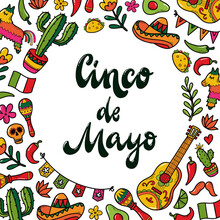 Cinco De Mayo Lettering Quote Decorated With Frame Of Hand Drawn Doodles For Prints, Invitations, Posters, Cards, Signs, Etc.