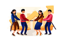 Tug Of War Illustration. Teams Pulling On Opposite Ends Of A Rope Against Each Other, Struggle For Corporate Supremacy Or Market Control.