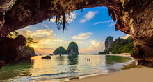 Phra Nang Cave Beach At Sunset - Tropical Coast Scenery Of Krabi - Paradise Travel Destination In Thailand, Asia