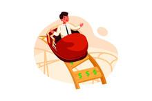 Businessman On Money Roller Coaster