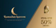 Special Offer, Ramadan Kareem Banner With Golden Crescent Moon And Lantern, Vector Illustration.