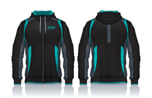 Hoodie Shirts Template. Jacket Design, Track Sportswear, Front And Back View.