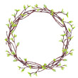canvas print picture - Spring forest frame of blooming branches with green buds. Birch tree wreath. Easter or wedding rustic decoration. Watercolor hand painted isolated elements on white background.