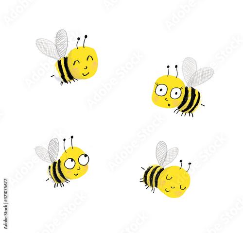 Fototapeta Cute bees bee kids illustration flying