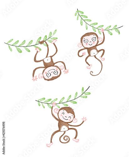 Photo Cute monkey illustration