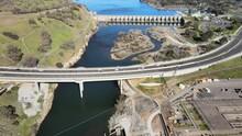 Aerial Footage Of The Nimbus Dam On The American River Near Folsom, California. Flying Towards Lake Natoma