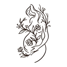 Pregnant Woman With Flowers. Female Body Line Art. Flower Woman. Black Outline Vector Illustration On White Background.