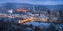 Heidelberg Old Town In Winter Seen From The Philosopher's Walk, Baden-Wuerttemberg, Germany