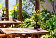 Wooden Outside Outdoor Sitting Restaurant Empty Area With Picnic Wooden Tables Chairs Bench In Patio Terrace Garden With Green Plants In Florida With Flower Bouquet And Condiments
