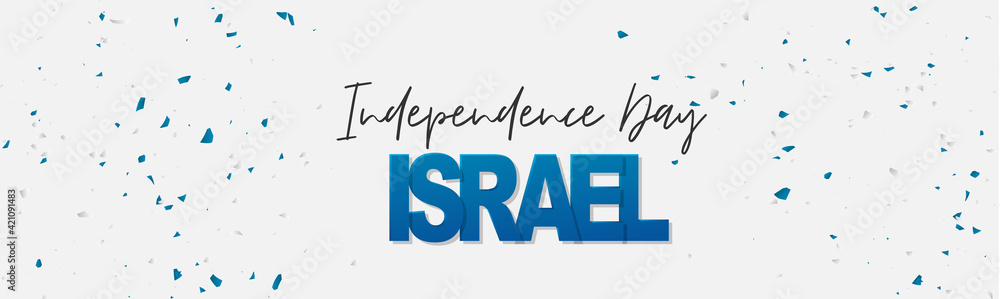 Fototapeta Israel Independence Day simple banner or site header. National holiday design template. Israeli background with blue and white confetti colors. Vector illustration.