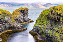 High Angle Above View Of Scenery Near Famous Gatklettur Arch Rock Near Hellnar National Park Snaefellsnes Peninsula In Iceland On Summer Day