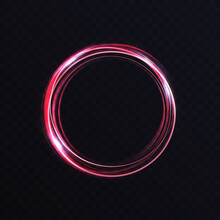 Luminous Vibrant Neon Circle Ring, Abstract Glowing Light Effect Vector Illustration. Shiny Storm Trace Round Swirl, Swirling Lines Trails, Twinkle Motion Element On Transparent Black Background