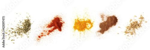 Valokuva Set spices pile, oregano, red paprika powder, turmeric, cinnamon, ginger, isolat
