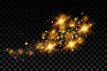 Golden Bright Particles, Bokeh Background, Luxury Glitter.Vector.