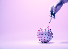 Vaccination Against Coronavirus. A Conceptual Representation Of The Coronavirus Vaccination Process. The Syringe With The Vaccine In The Doctor's Hand. On A Pink Background, Tinted In Light Pink