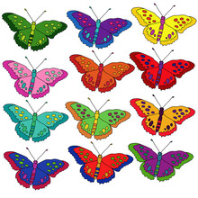 Set Of Bright Multicolored Butterflies, Fantasy Flying Insects
