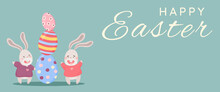 Easter Poster And Banner Template With Easter Eggs And Bunnies On Pastel Background.