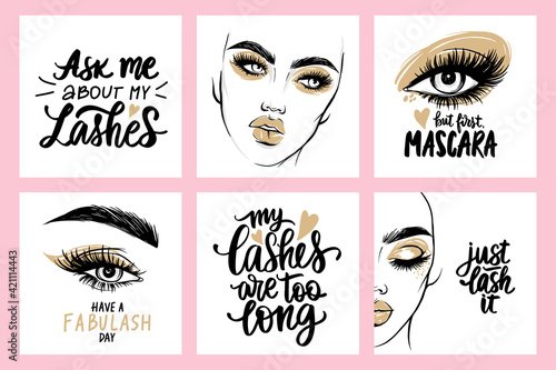 Fotografie, Obraz Fashion posters with female portraits, quotes about lashes and mascara