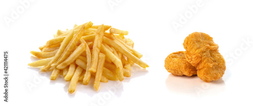 Fototapeta French fries and Chicken nuggets isolated on white background. obraz