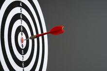 Dart Hit Target On Black Background
