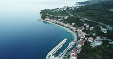 Aerial View Of Town And Harbor In Podgora Croatia.