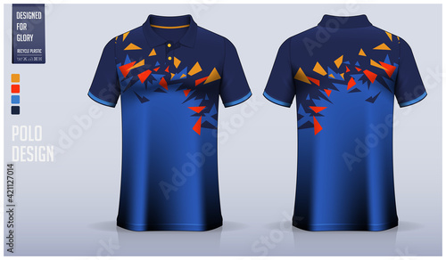 Blue Polo Shirt mockup template design for soccer jersey, football kit, sport uniform and casual wear Fototapet