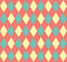 Easter Argyle Plaid. Scottish Pattern In Red, Blue And Yellow Rhombuses. Scottish Cage. Traditional Scottish Background Of Diamonds. Seamless Fabric Texture. Vector Illustration