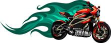 Vector Illustration Of Fiery Red Motorbike Design