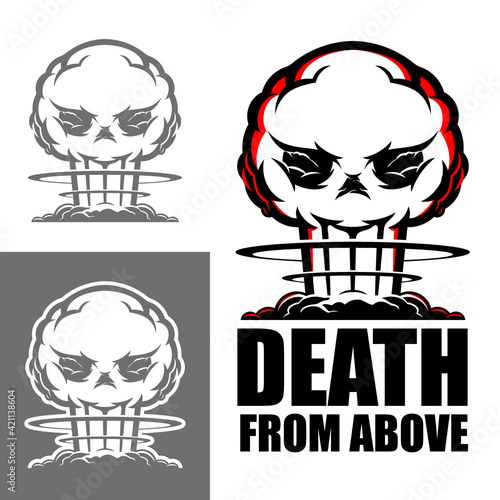 Death from Above symbol vector illustration the deadly atomic blast in skull sha Fototapet