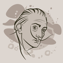 Portrait Of Salvador Dali. Spanish Painter, Graphic Artist, Sculptor, Director And Writer. Black And White Sketch Of A Hand-drawn Portrait.