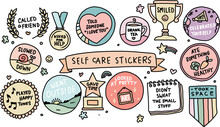 Set Of Vintage Self-care Labels Sticker Set