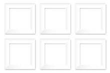 White Frames For Banner Design. Empty White Picture Frame. 3d Vector Background. Stock Image. EPS 10.