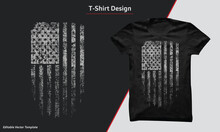 T-shirt Graphic Design With American Grunge Flag, USA Flag T Shirt.