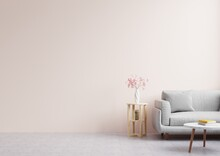 Living Room With Empty Pink Walls, Decorated With Beautiful Flowers And Sofas.3d Rendering.