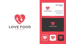 Modern Love Food With Fork And Spoon Logo Design And Business Card