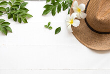 Hat With White Flower Frangipani And Leaf Of Lifestyle Woman Relax Summer Arrangement Flat Lay Style On Background White
