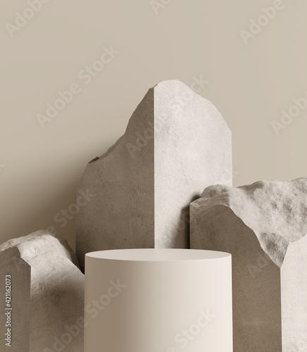 Fotografia, Obraz Brown stone podium, Cosmetic display stand on brown background
