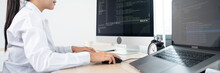 Asian Woman Programmer Typing Source Codes Programming On Computer In Office, Freelance Web Developer Concept.