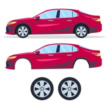 Red Sport Car Vector Template. The Ability To Easily Change The Color. All Sides In Groups On Separate Layers.