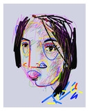Face character of girl in abstract style icon symbol vector illustration. Line art, color, rough.