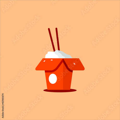 Fototapeta Cartoon Flat Illustration of Rice Box with Chopstick Vector for Food Graphic Des