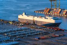 Ro-Ro Ship / Car Carrier Ship Anchored At The Terminal.