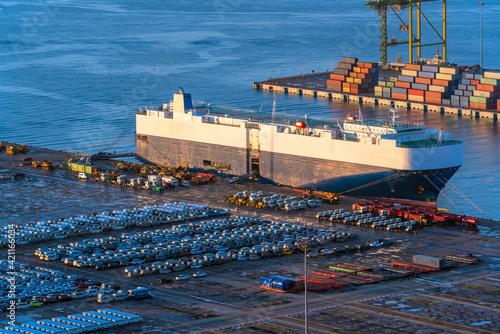 Canvas Print Ro-Ro Ship / car carrier ship anchored at the terminal.