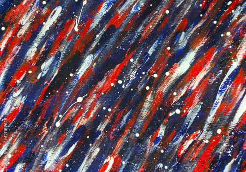 Obraz na plátne Art creative canvas with drawn lines of blue, white, red paint