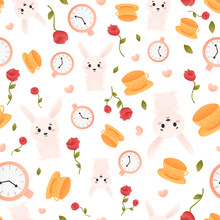 Cute Little Bunny Seamless Pattern With Clocks And Red Roses, Womderlamd Ornament On White Background