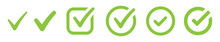 Green Collection Of Check Mark. Tick Vector Icon, Accept The Right Choice. Approval Checkmark, Good Solution.